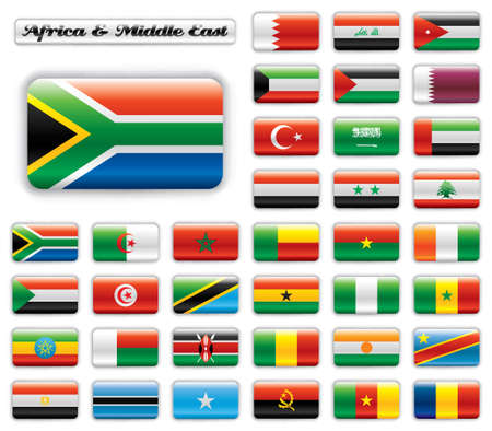 south africa flag: Extra glossy button flags. Big Africa & Middle East set. 36 Vector flags. Original size of SAR flag included.