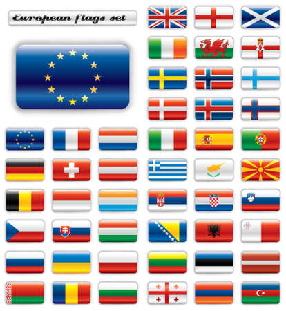 Extra glossy button flags. Big European set. 48 Vector flags. Original size of EU flag included. Vector