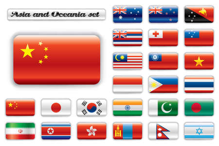 zealand: Extra glossy button flags. Big Asian & Oceania set. 24 Vector flags. Original size of China flag included