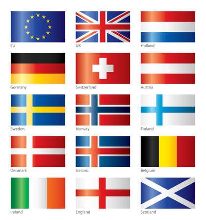 zwitserland vlag: Glanzende vlaggen - midden- en Noord Europa