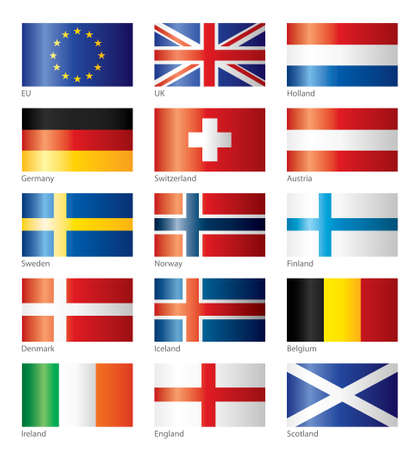 northern ireland: Glossy flags - Central and North Europe