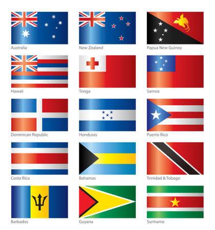 Glossy flags - Oceania & America  Vector