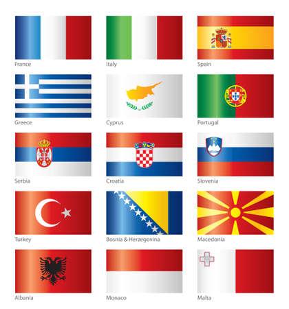 flaga włoch: BÅ'yszczÄ…cy flagi - Europa PoÅ'udniowa Ilustracja