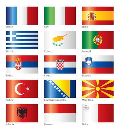 Glossy flags - Southern Europe Illustration