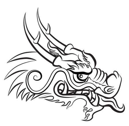 邪悪な龍の頭。伝統的な中国語と日本語ドラゴン芸術とインスピレーションのアートワーク。