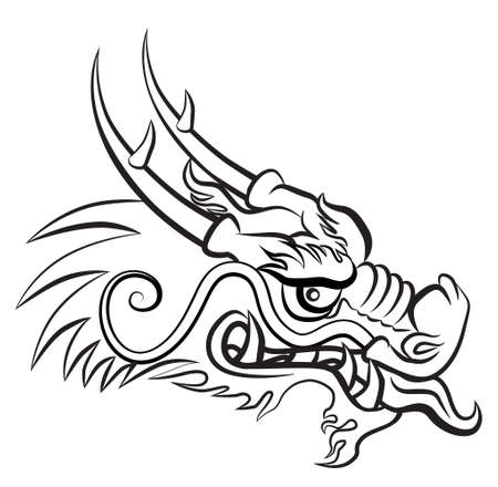 tatouage dragon: T�te de dragon mal�fique. Oeuvre inspir�e avec les arts traditionnels du dragon chinois et japonais.