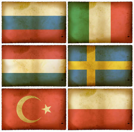 Vintage flags set - Europe two photo