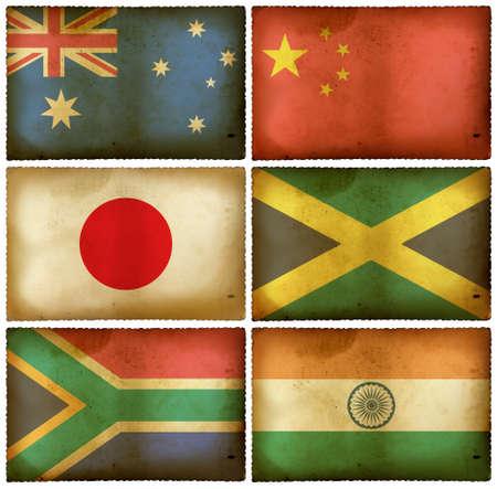 Vintage flags set - Mix photo