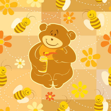 Seamless illustration. Teddy Bear eat honey with his friends Bees. brush pattern included in EPS file. Vector