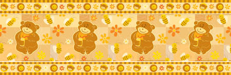 Bear and Bees wallpaper border. Easy to extend endlessly with the included brush pattern. Seamless pattern. Vector