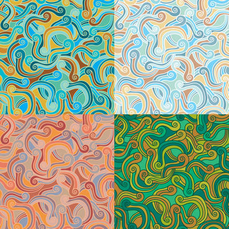 Seamless pattern in four color variations, each in separated layer. Swatch pattern  Vector