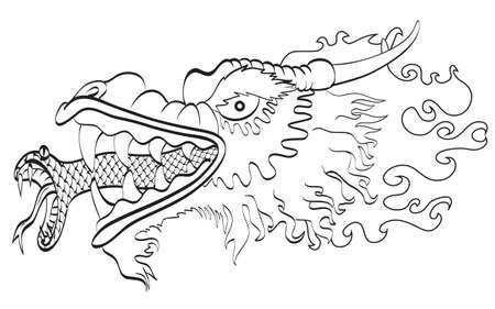 Dragon with snake tongue b&w Vector
