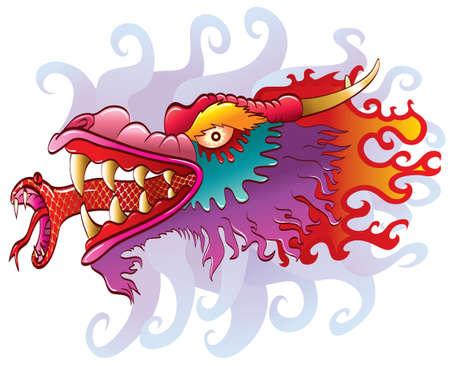 Dragon with snake tongue Vector