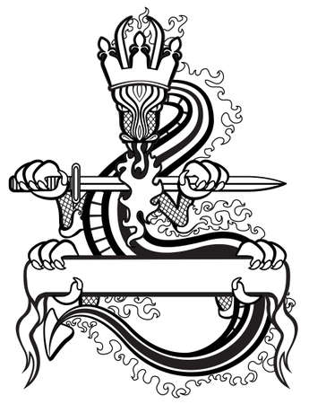 medieval sword: Dragon King with sword and banner for your text b&w