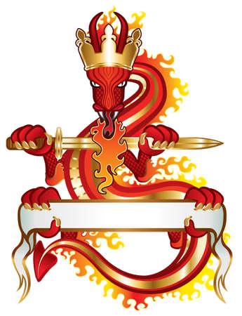 剣とあなたのテキストのためのバナーを持つドラゴン王  イラスト・ベクター素材