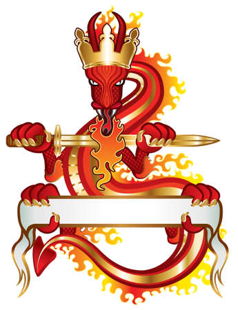Dragon King with sword and banner for your text Vector