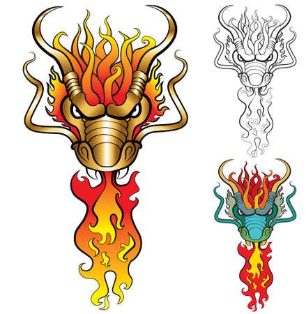 tatouage dragon: Dragon de feu. illustration, chaque variation dans la couche s�par� Illustration