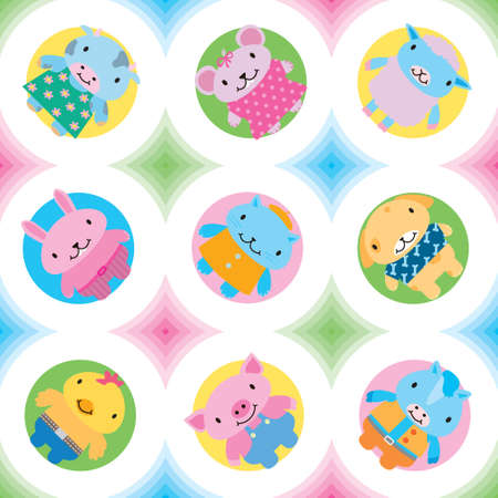 Seamless pattern pets and farm animals Vector