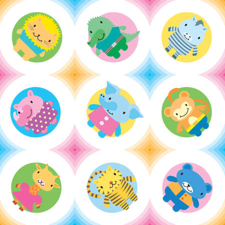 Seamless pattern wild animals Vector