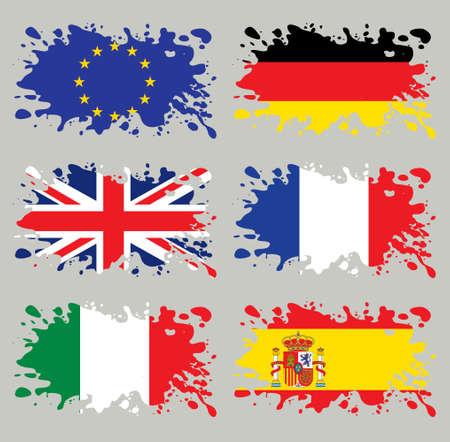 スプラッシュ フラグ設定ヨーロッパ。各レイヤーでは分離された、使いやすい、グラデーションと透明度なし。
