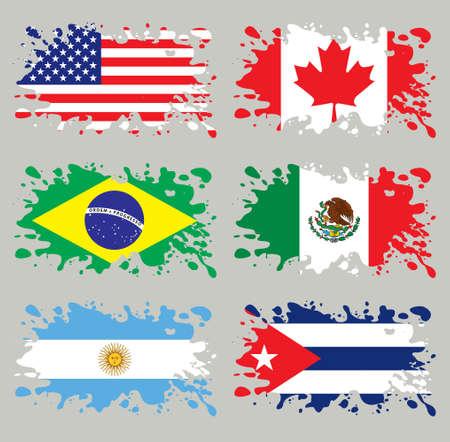 Splash vlaggen ingesteld Amerika. Elk in gescheiden laag, makkelijk te gebruiken, zonder verlopen en transparanten. Vector Illustratie