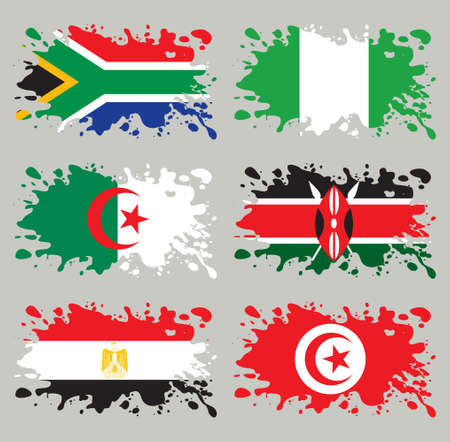 Splash flags set Africa. Each in separated layer, easy to use, without gradients and transparencies. Vector