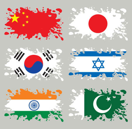 south asian: Splash flags set Asia. Each in separated layer, easy to use, without gradients and transparencies.