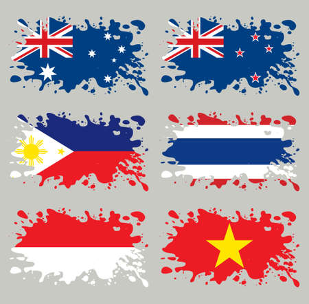 zealand: Splash flags set Australia & Eastern Asia. Each in separated layer, easy to use, without gradients and transparencies. Illustration