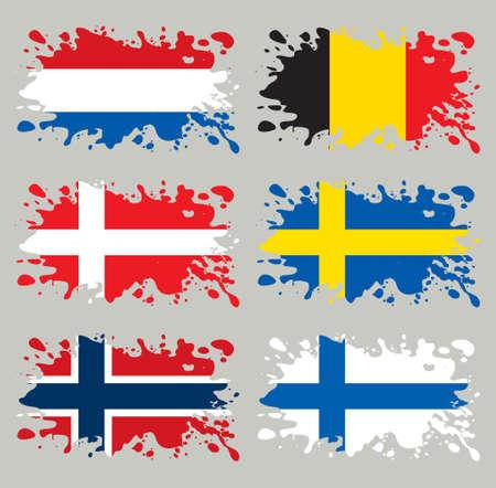 Splash vlaggen ingesteld Benelux & Scandinavia. Elk in gescheiden laag Vector Illustratie