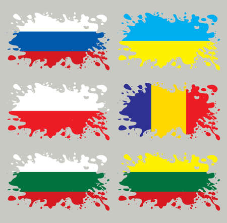 Splash flags set Eastern Europe. Each in separated layer Vector