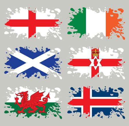 スプラッシュ、フラグ設定、北ヨーロッパ。各レイヤーでは分離された、使いやすい、グラデーションと透明度なし。  イラスト・ベクター素材