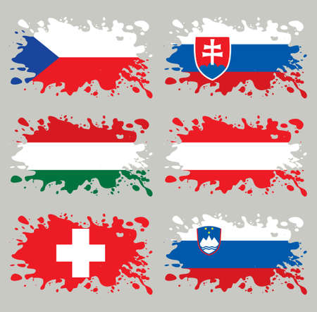 Splash flags set Middle Europe. Each in separated layer, easy to use, without gradients and transparencies. Vector