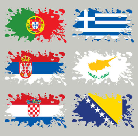 Splash flags set Balkans & Southern Europe. Each in separated layer, easy to use, without gradients and transparencies. Vector