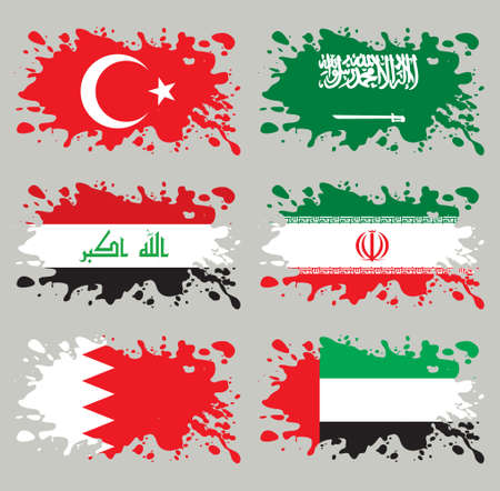 Splash flags set Middle East Asia. Each in separated layer, easy to use, without gradients and transparencies.