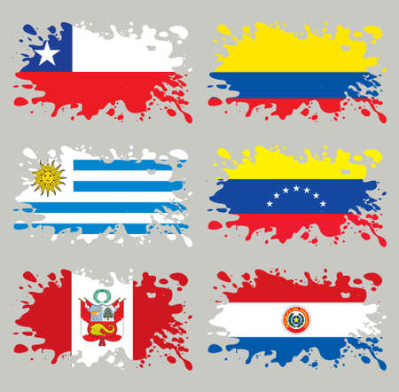 Splash flags set South America. Each in separated layer, easy to use, without gradients and transparencies. Illustration