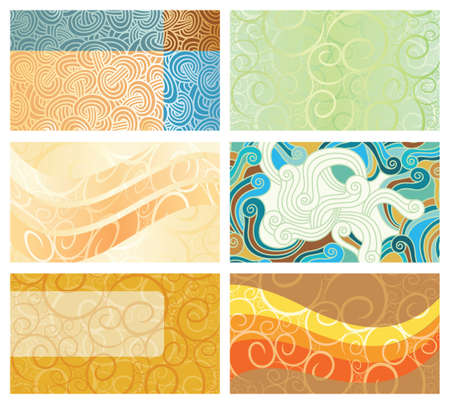 Abstract swirl background business cards set. Vector illustration, design elements.