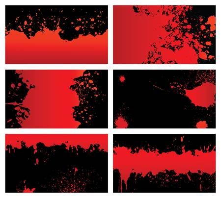 Bloody backgrounds card design elements. Each card in separated layer Illustration