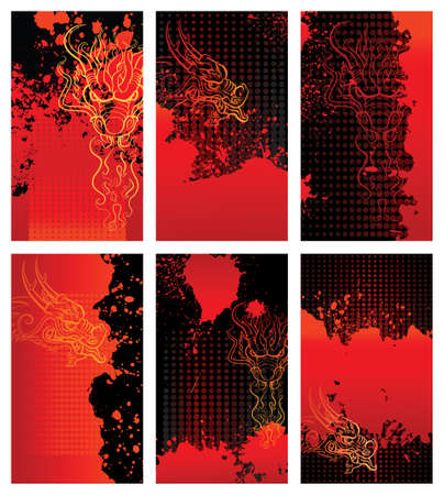 crimes: Bloody dragon backgrounds cards design elements. Each card in separated layer Illustration