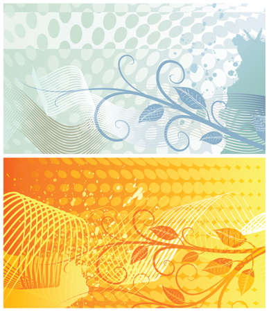 Two abstract floral backgrounds, each in separated layer.