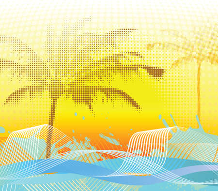 Sumer halftone palm background.