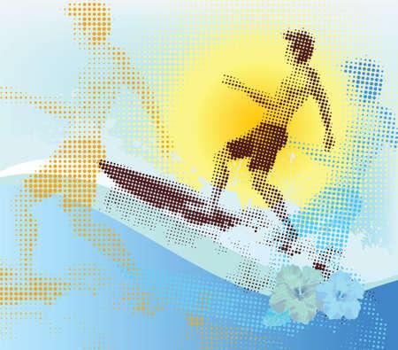 ハーフトーンのサーファー、夏のシーン。  イラスト・ベクター素材