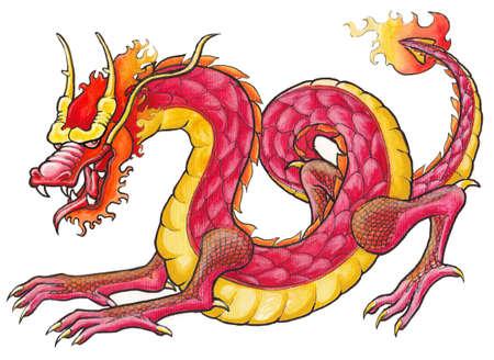 Handrawing レッド ・ ドラゴン 写真素材