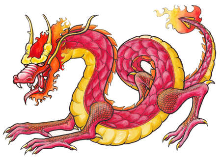 black and white dragon: Handrawing Red Dragon Stock Photo