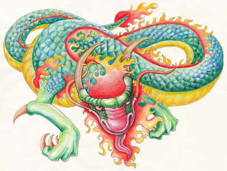 dragon tattoo: Wild dragon Stock Photo