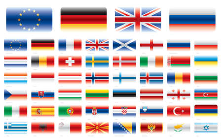 48: Modern flag set  Europe 48 flags  Vector without transparencies