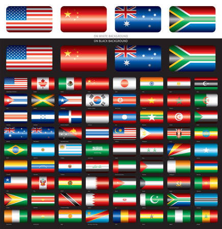 Flag set on black backround  America Asia Africa Oceania 72 flags Vector
