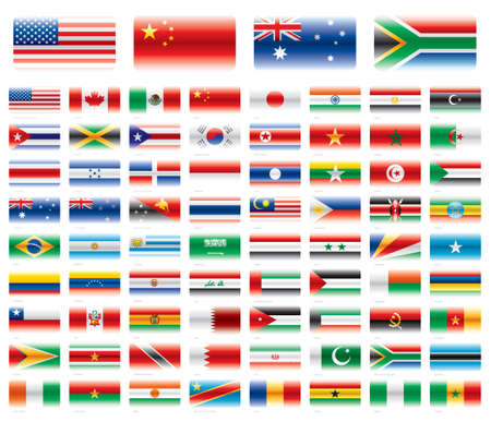 Modern flag set  America Asia Africa Oceania 72 flags  Vector without transparencies