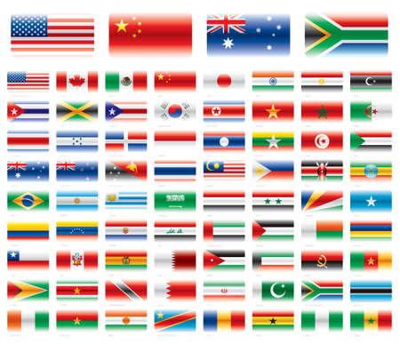 現代旗アメリカ アジア アフリカ オセアニア 72 フラグ ベクトル透明度なしを設定
