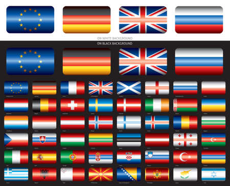 Flag set on black backround  Europe  48 flags  Illustration