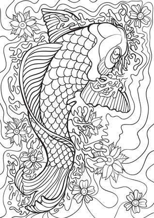 Erwachsene Färbung Buchillustration. Tattoo-Set: Koi. Illustration.
